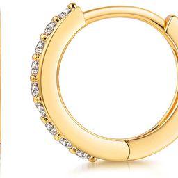 Kainier Mini Hoop Earrings 18K Gold Plated Cubic Zirconia Ear Cuff Earrings Huggie Hoop Cartilage... | Amazon (US)