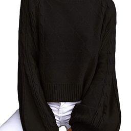 Women's Mock Turtleneck Lantern Sleeve Cable Knit Pullover Sweater Tops | Amazon (US)