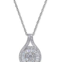Diamond Baguette Cluster Pendant Necklace (1/2 ct. t.w.)   Macys (US)
