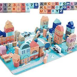 Mochoog Wooden Building Blocks Set, 133 Pieces Educational Construction ABC/123 Blocks for Kids, ... | Amazon (US)