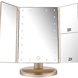 deweisn Tri-Fold Lighted Vanity Mirror with 21 LED Lights, Touch Screen and 3X/2X/1X Magnificatio... | Amazon (US)