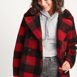 Cozy Plaid Sherpa Peacoat for Women   Old Navy (US)