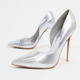 ASOS DESIGN Pia D'orsay stilleto court shoes in silver | ASOS (Global)