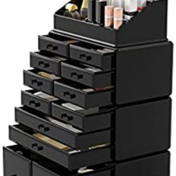 Readaeer Makeup Cosmetic Organizer Storage Drawers Display Boxes Case with 12 Drawers(Black) | Amazon (US)
