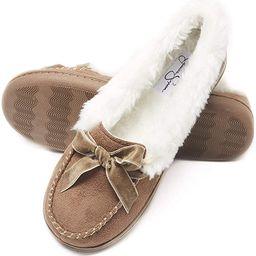 Jessica Simpson Womens Micro Suede Moccasin Indoor Outdoor Slipper Shoe | Amazon (US)