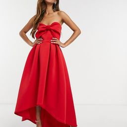 True Violet oversized bow high/low midi dress in red | ASOS (Global)