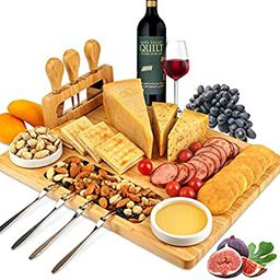 ROYAMY Bamboo Cheese Board Set with 3 Stainless Steel Knife, Meat Charcuterie Platter Serving Tra... | Amazon (US)
