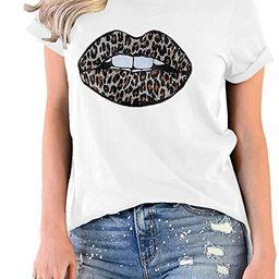 INFITTY Womens Basic Graphic Tees Casual Summer Short Sleeve Shirt Blouse Lip Leopard Print Tops ... | Amazon (US)