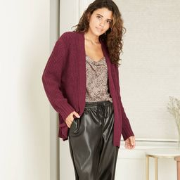 Women's Chenille Open-Front Cardigan - A New Day Burgundy XL, Red | Target