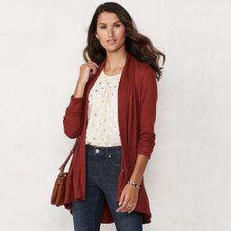 Women's LC Lauren Conrad Long Tiered Cardigan, Size: XS, Red/Coppr | Kohl's