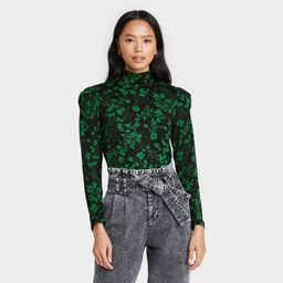 Women's Floral Print Puff Long Sleeve Mock Turtleneck Knit Top - Who What Wear™ | Target