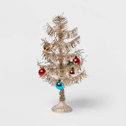 """14"""" Artificial Christmas Tinsel Tree Gold - Opalhouse™ 