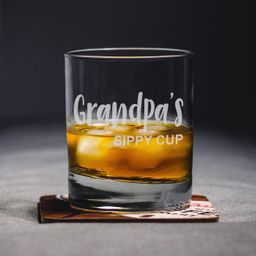Grandpa's Sippy Cup | Whiskey Glass - Rocks Glass - Gift for Grandpa | Etsy (US)