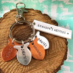 Handstamped Grandpa's Keepers Fishing Keychain, Kids Name Keychain, Daddy's Best Catch, Gift for ... | Etsy (US)