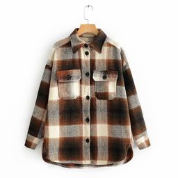 Chocolate Brown Plaid Oversized Shirt Jacket/ Khaki Overshirt Flannel Shacket/ Warm Button Front ... | Etsy (US)