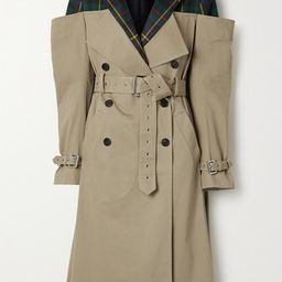 Monse - Deconstructed Checked Wool-twill And Cotton-blend Gabardine Trench Coat - Beige   Net-a-Porter (US)