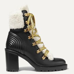 Christian Louboutin - Yetita 70 Shearling-trimmed Leather Ankle Boots - Black   Net-a-Porter (US)
