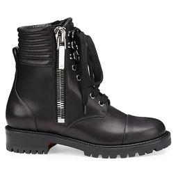 Christian Louboutin Women's En Hiver Flat Leather Zip Booties - Black - Size 39.5 (9.5)   Saks Fifth Avenue