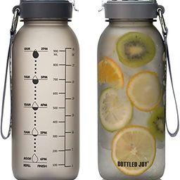 BOTTLED JOY 32oz Water Bottle, BPA Free Water Bottle with Motivational Time Marker Reminder Leak-... | Amazon (US)