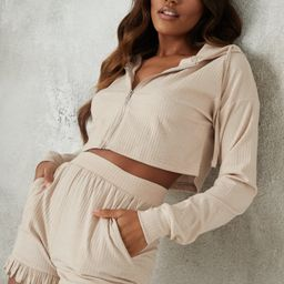 Beige Soft Rib Hoodie and Frill Shorts Loungewear Set | Missguided (US & CA)