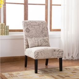 Pisano English Letter Print Fabric Armless Contemporary Accent Chair with Matching Pillow | Overstock