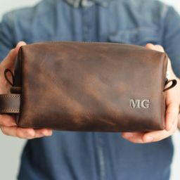 Personalized Toiletry Bag, Anniversary gift,  Mans Dopp Kit, Brown Mens Bag, Leather Toiletry Bag...   Etsy (US)