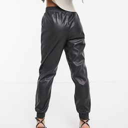 New Look leather look jogger in black | ASOS (Global)