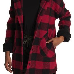 Plaid Coat With Shearling Hood | Nordstrom Rack