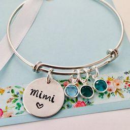 Personalized Grandma Bracelet, Silver Mimi Bracelet, Grandma Birthstone Bracelet | Etsy (US)