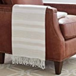 """Amazon Brand – Stone & Beam Striped Throw Blanket, Soft and Easy Care, 80"""" x 60"""", Fringed, Natural 