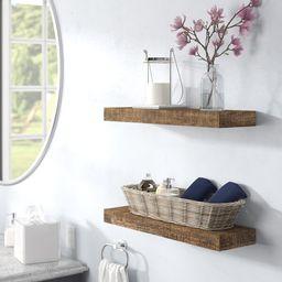 Evonne 2 Piece Pine Solid Wood Floating Shelf (Set of 2) | Wayfair North America