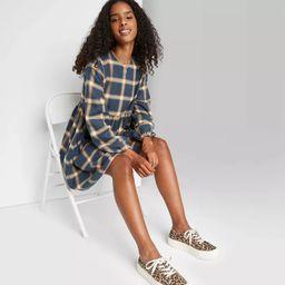Women's Plaid Long Sleeve Woven Babydoll Dress - Wild Fable™ | Target