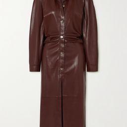 Sami ruched vegan stretch-leather shirt dress | Net-a-Porter (US)