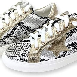Women Classic Two Tone Star Lace up Fashion Sneakers | Amazon (US)