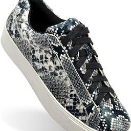Shoe Republic LA Women's Snakeskin Colorful Platform Sneakers Comfort Casual Walking Shoes | Amazon (US)