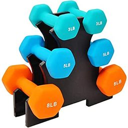 BalanceFrom Colored Neoprene Coated Dumbbell Set with Stand   Amazon (US)