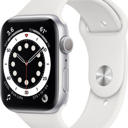 Apple Watch Series 6 (GPS) 44mm Silver Aluminum Case with White Sport Band - Silver   Best Buy U.S.