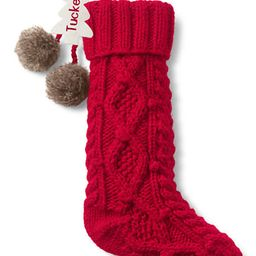 Cable Knit Pom Christmas Stocking | Lands' End (US)
