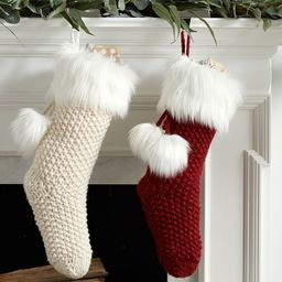 Knit Stocking with Faux Fur Trim | Pottery Barn (US)