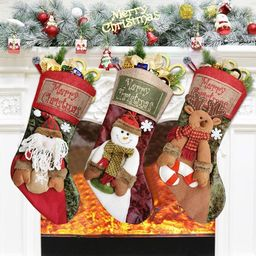 "Bueautybox Christmas Stocking Personalized, Santa Snowman Reindeer Character 18"" Large Christmas ... | Walmart (US)"