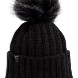 Cuffed Beanie with Faux Fur Pom   Nordstrom