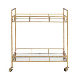 Home Decorators Collection Gold Leaf Metal and Glass Rolling Bar Cart with Glass Top (30 in. W x ...   The Home Depot