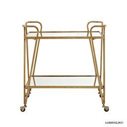 Linon Home Decor Mid-Century Gold Bar Cart with Castors-AJUBAR4GLDKD01 - The Home Depot   The Home Depot