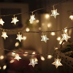 Twinkle Star 100 LED 49 FT Star String Lights, Plug in Fairy String Lights Waterproof, Extendable... | Amazon (US)