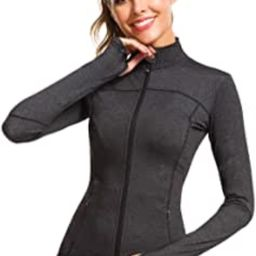 QUEENIEKE Womens Sports Jacket Turtleneck Slim Fit Full-Zip Running Top 80927 | Amazon (US)
