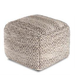 Square Gray And Beige Diamond Pouf | World Market