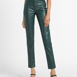 High Waisted Vegan Leather Slim Ankle Pant   Express
