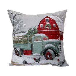 St. Nicholas Square® Truck & Barn Holiday Tapestry Throw Pillow | Kohl's