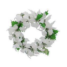 """12"""" White Poinsettia Christmas Mini Wreath by Ashland®   Michaels Stores"""