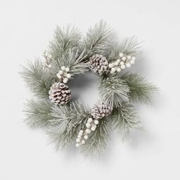 "12"" Artificial Flocked Wreath White - Threshold™   Target"